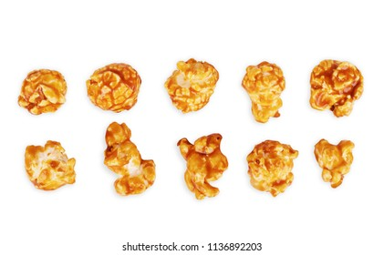 Brown popcorn set chocolate flavor caramel isolated on white