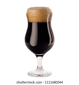 Brown porter beer in wineglass with foam isolated on white background.