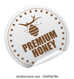 Brown Premium Honey Sticker, Icon or Label Isolated on White Background