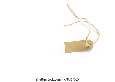 Brown price name tag with rope isolated on white background