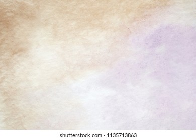 Brown and purple abstract watercolor painting textured on white paper background, vintage tone