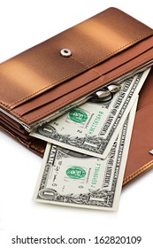 Brown purse and dollars isolated on white background