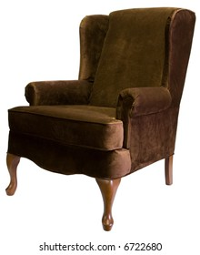 Brown Queen Anne Style Wing Chair with Cherry Wood Legs