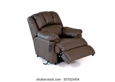 Brown reclining leather chair with controls on white background