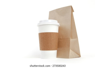 Brown recyclable paper bag and cup