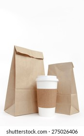 Brown recyclable paper bags and cup