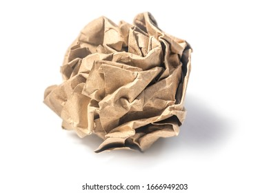 Brown recycle paper crumpled ball hard light