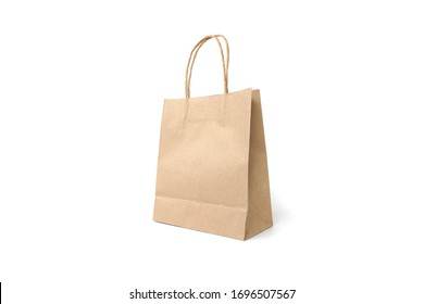 Brown recycled paper bag on white background