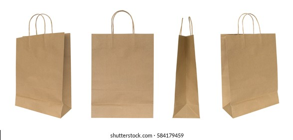 Brown recycled paper shopping bag set isolated on white background, clipping path included
