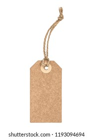 Brown recycled paper tag with string isolated on white background