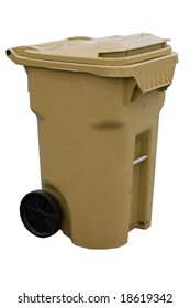 brown recycling container with clipping path