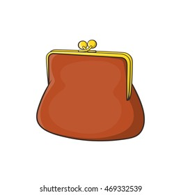 Brown retro purse icon in cartoon style on a white background