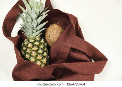 Brown Reusable Zero Waste Bag with Pineapple