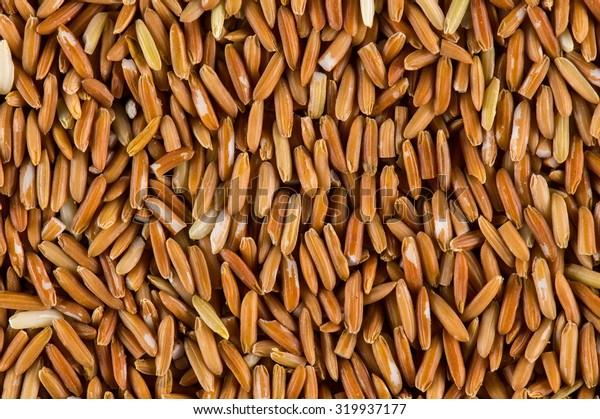 Brown rice grains background