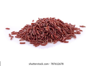 brown rice on white background.