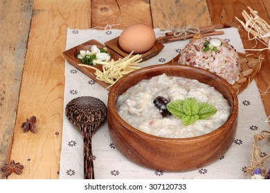 Brown rice porridge put pork and brown rice with soft-boiled egg