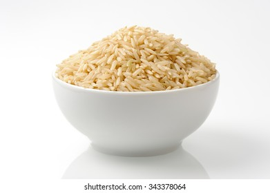 brown rice in white bowl