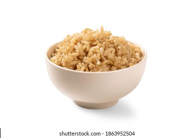 Brown rice in white cup isolated on white background.