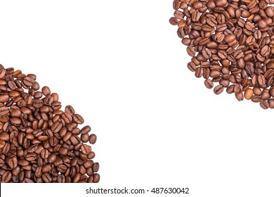 Brown roasted coffee beans close up