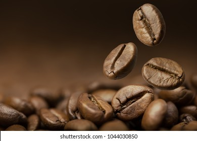 Brown roasted coffee beans falling on pile. Represent breakfast, energy, freshness or great aroma,Dark background with copy space, close-up