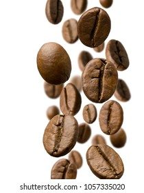 Brown roasted coffee beans falling , Represent breakfast, energy, freshness or great aroma,white background isolate with copy space, close-up