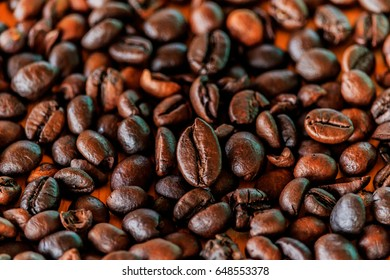 Brown roasted coffee beans (selective focus)