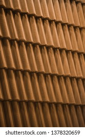 Brown roof pattern background. Roof tile.  Natural photo.