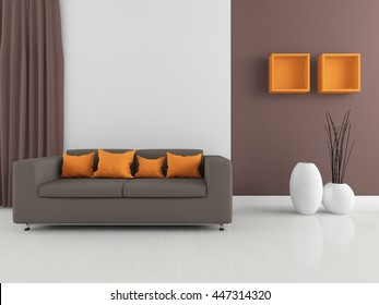Brown room interior. Living room interior. Scandinavian interior. 3d illustration