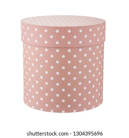brown round hatbox with dots isolated on white background.