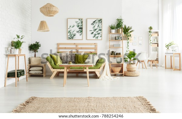 Brown Rug Spacious Floral Living Room Stock Photo (Edit Now ...