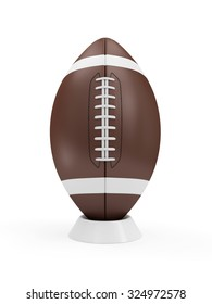 Brown Rugby Ball on stand isolated on white background. Sport and Recreation Concept