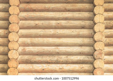 brown rustic wooden texture background. facade of a log house, copy space