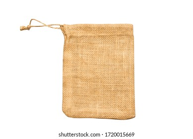 Brown sackcloth textile gift package bag, isolated