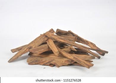 brown sandalwood on white background