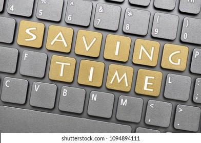 Brown saving time key on keyboard