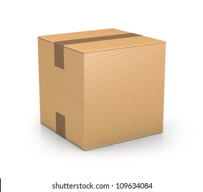 Brown sealed cube boxes. High resolution 3D illustration with clipping paths.