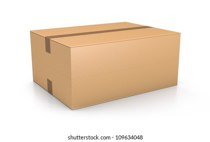 Brown sealed rectangle box. High resolution 3D illustration with clipping paths.