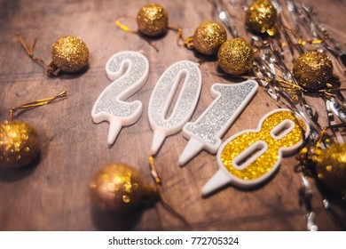brown and shine Happy New Year 2018 decorations .   Gold Numbers Design