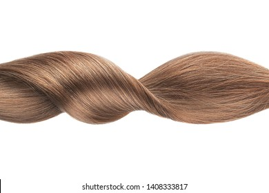 Brown shiny hair wave, isolated over white