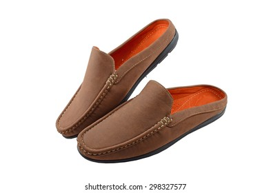 brown shoes cushioned heel / brown court shoes cushioned heel isolated on white background 2