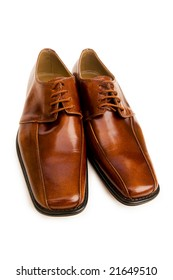 Brown shoes isolated on the white background