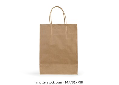 Brown Shopping Paper Bag isolated on White Background  with cliping path.