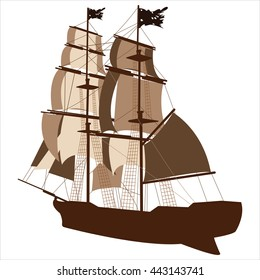 brown silhouette of sailing ship on white background