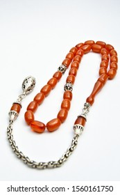 Brown and silver beads sequenced, short rosary, tespih tesbih
