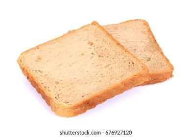 Brown slice bread white background