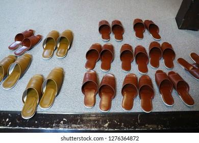 brown slippers on the floor at japan ryokan