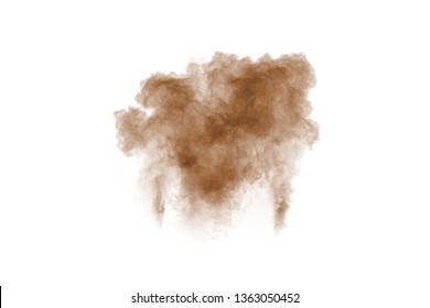 Brown smoke on white background. Brown dust particle exhale in the air.