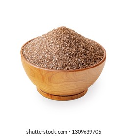 Brown smoked salt in a wooden bowl isolated on white