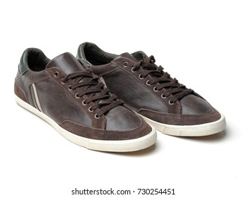 Brown sneakers on isolate white background. Fashion shoes and sneaker isolated on white background.