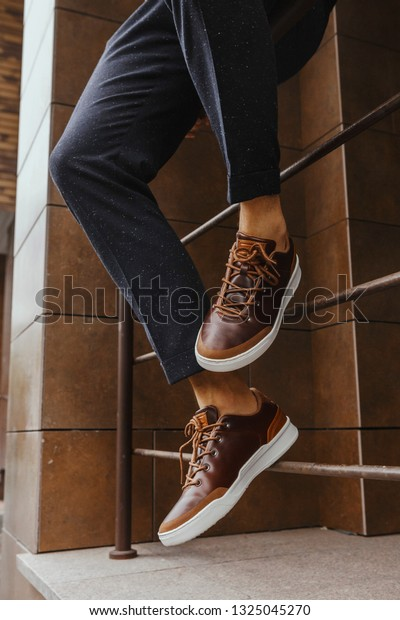 Brown Sneakers Shoes White Sole Dark